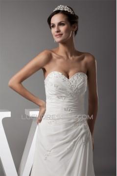 Sweetheart Chiffon Silk like Satin A-Line Best Wedding Dresses 2030476