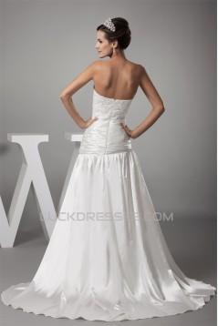 Sweetheart Chiffon Silk like Satin A-Line Best Wedding Dresses 2030477