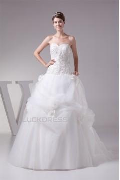 Sweetheart Princess Satin Fine Netting Lace Sleeveless New Arrival Wedding Dresses 2030482