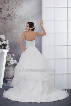 Sweetheart Satin Organza Lace A-Line Sleeveless Best Wedding Dresses 2030485