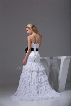 Sweetheart Sheath/Column Sleeveless Chiffon Satin New Arrival Wedding Dresses 2030486