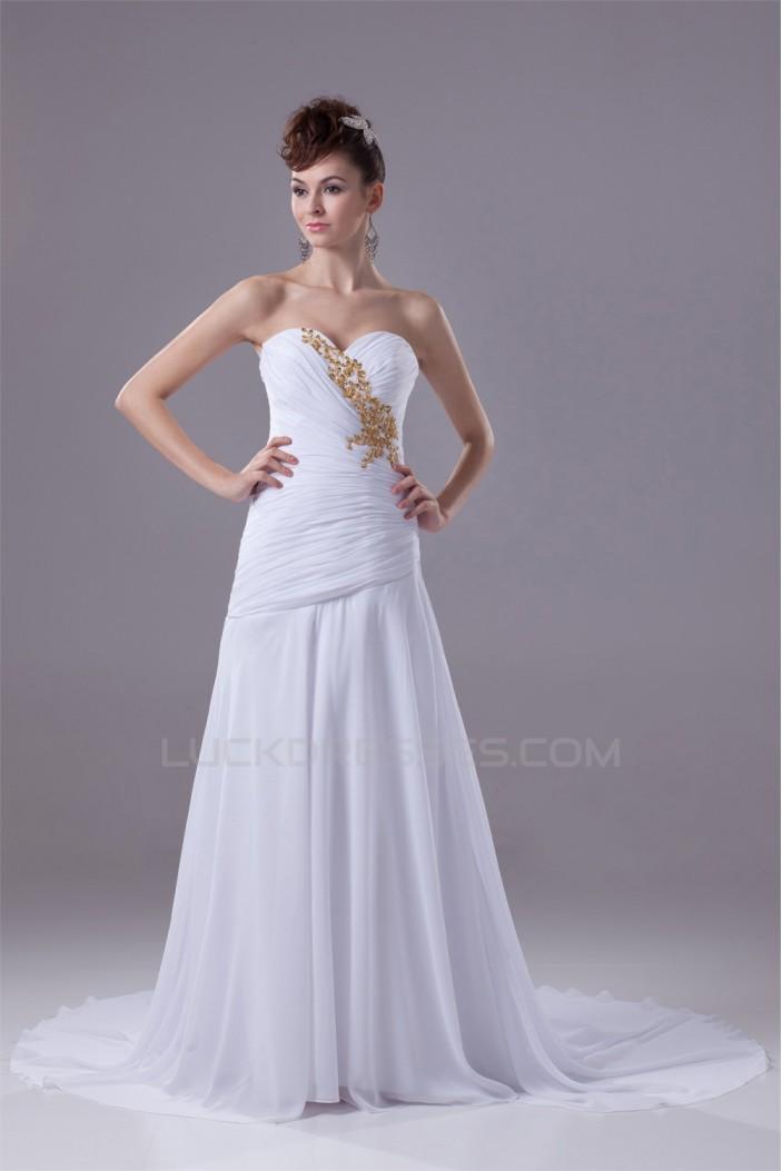 Sweetheart Sleeveless A-Line Chiffon Silk like Satin Best Wedding Dresses 2030487