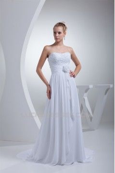 Sweetheart Sleeveless Chiffon Silk like Satin Sweet Lace Wedding Dresses 2030488