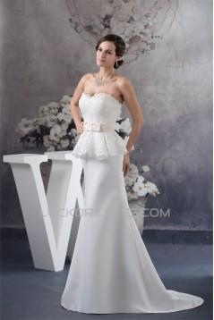 Sweetheart Sleeveless Satin Lace A-Line Most Beautiful Wedding Dresses 2030489