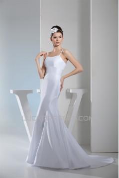 Taffeta Mermaid/Trumpet Sleeveless Spaghetti Straps Sweet Wedding Dresses 2030495