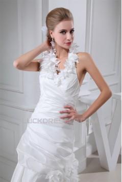 Taffeta Netting Sheath/Column Sleeveless Sweet Wedding Dresses 2030496