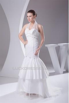 Trumpet/Mermaid Taffeta Ruffled Netting Halter Sleeveless Wedding Dresses 2030497
