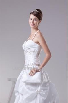 Ball Gown Taffeta Sleeveless Sweetheart Beaded Wedding Dresses 2030498