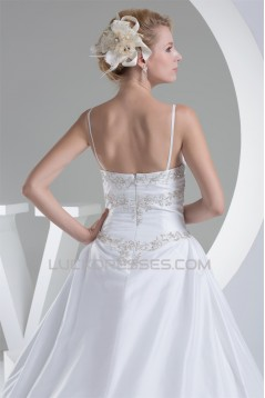 Taffeta Spaghetti Straps A-Line Sleeveless New Arrival Wedding Dresses 2030499