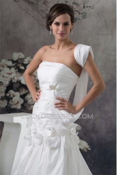 Taffeta Strapless Sleeveless A-Line Chapel Train Wedding Dresses 2030500