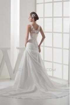 A-Line Sleeveless Scoop Lace Taffeta Best Wedding Dresses 2030502