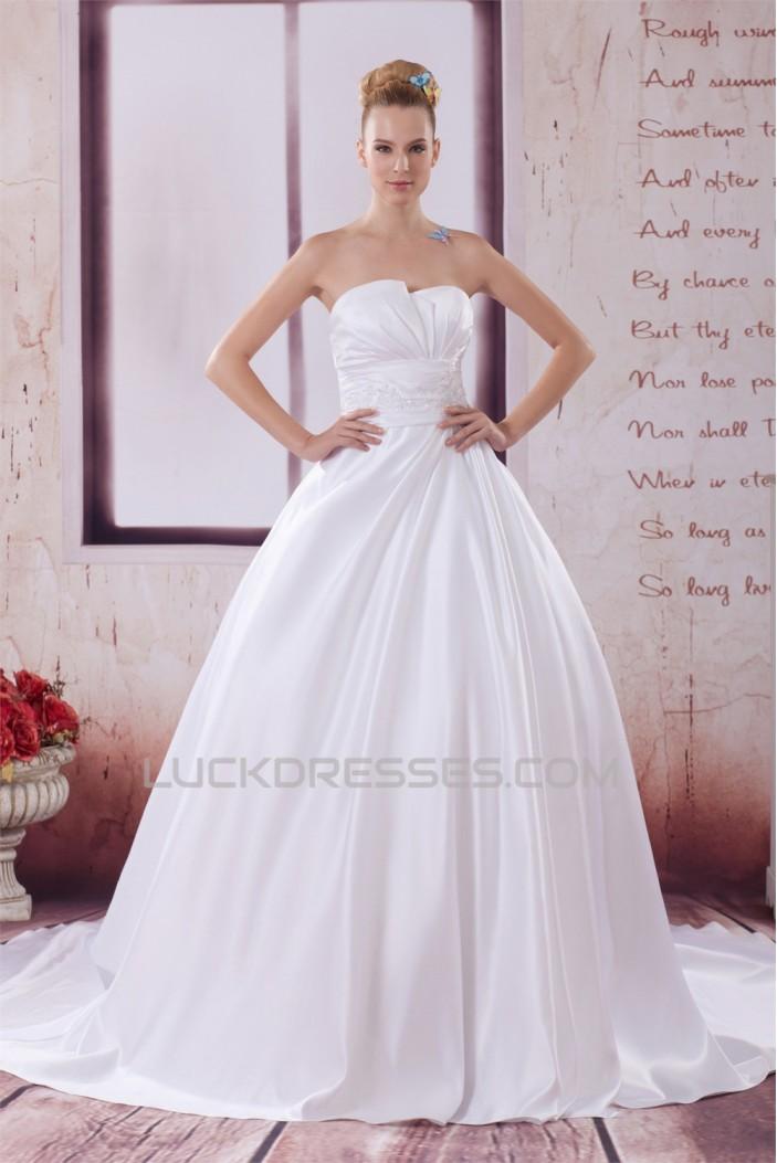 A-Line Strapless Satin Sleeveless New Arrival Wedding Dresses 2030503