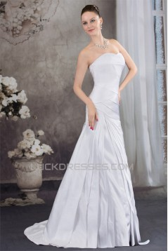 Sleeveless Satin A-Line Sweetheart Best Wedding Dresses 2030505