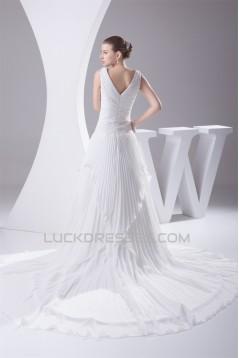 V-Neck A-Line Chiffon Silk like Satin Illusion Sleeves Reception Wedding Dresses 2030508
