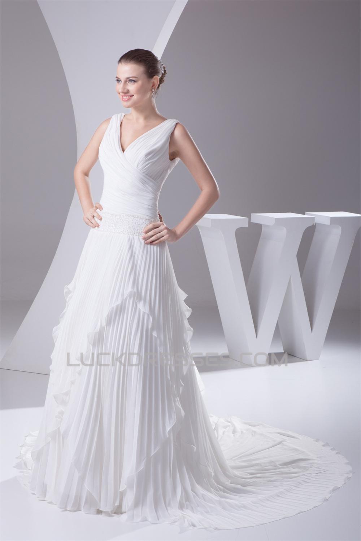 V-Neck A-Line Chiffon Silk like Satin Illusion Sleeves ...