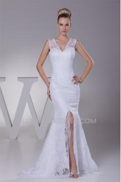 Mermaid/Trumpet V-Neck Sleeveless Satin Lace Best Wedding Dresses 2030510
