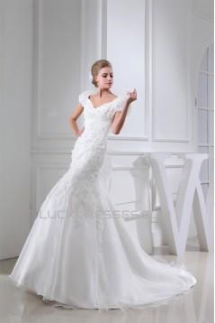 V-Neck Mermaid/Trumpet Sleeveless Satin Lace Organza Wedding Dresses 2030511