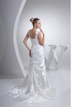 V-Neck Sheath/Column Taffeta Illusion Sleeves New Arrival Wedding Dresses 2030512