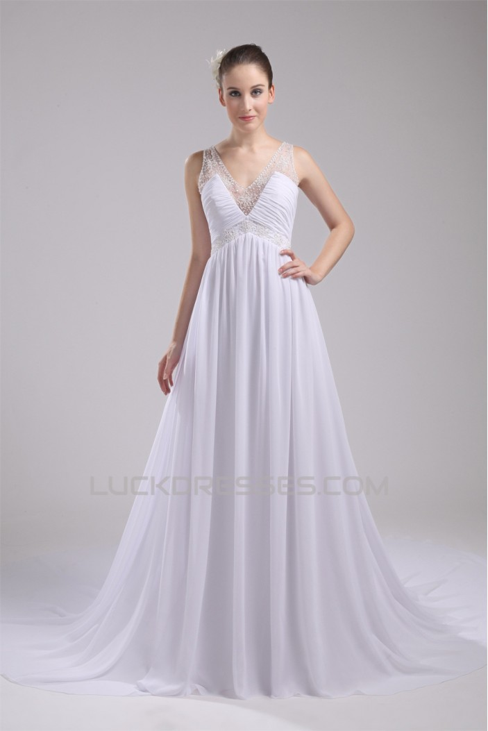 A-Line V-Neck Sleeveless Chiffon Beaded Most Beautiful Wedding Dresses 2030513