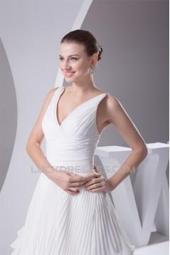 Wholesale A-Line V-Neck Chiffon Satin Sleeveless Best Wedding Dresses 2030514