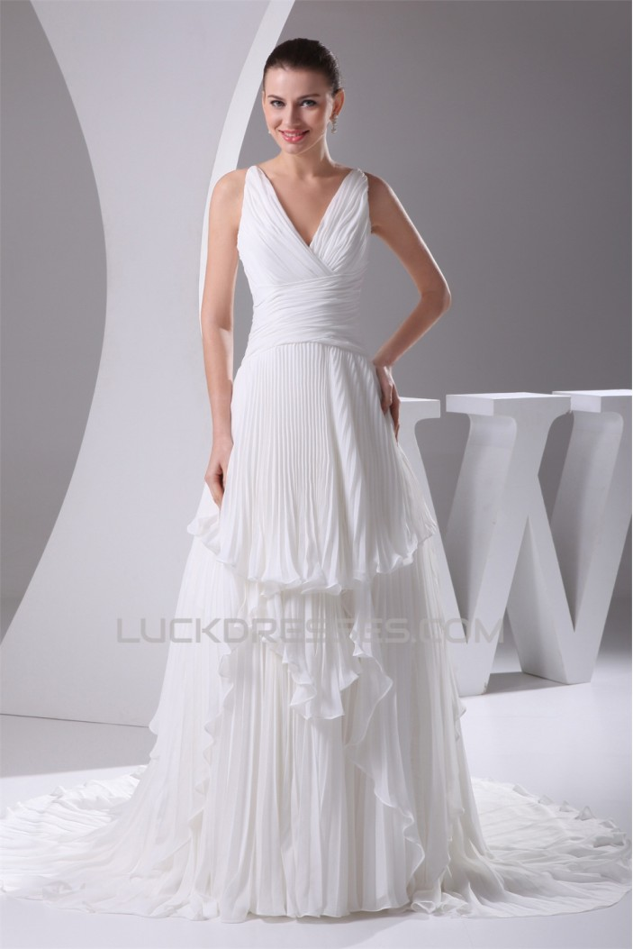 Wholesale A-Line V-Neck Chiffon Satin Sleeveless Best Wedding Dresses 2030514