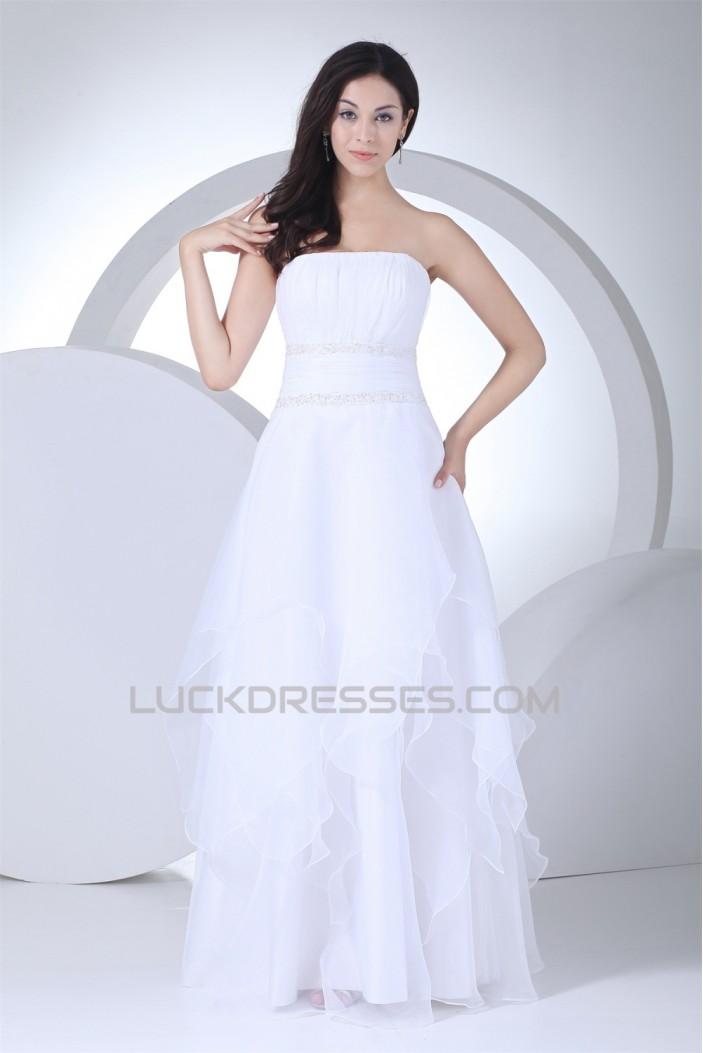 Wonderful A-Line Strapless Satin Organza Sleeveless Wedding Dresses 2030516