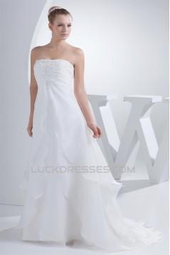 Wonderful A-Line Strapless Satin Woth Satin Wedding Dresses 2030517