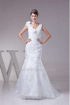 Wonderful Lace Organza Taffeta Mermaid/Trumpet Lace V-Neck Wedding Dresses 2030519