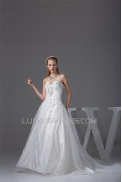 Wonderful Sleeveless A-Line Satin Organza Sweetheart Beaded Wedding Dresses 2030523