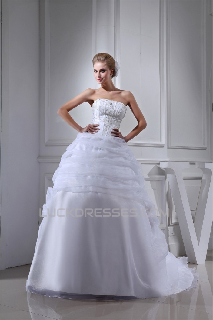 Wonderful Sleeveless Square Satin Organza Ball Gown Wedding Dresses 2030524