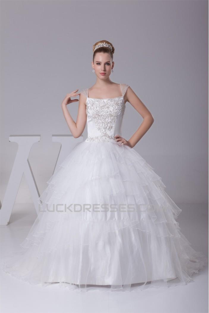 Wonderful Sleeveless Straps A-Line Satin Fine Netting Wedding Dresses 2030525