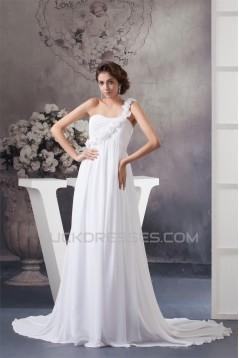 A-Line Chiffon One-Shoulder Most Beautiful Wedding Dresses Maternity Wedding Dresses 2030528