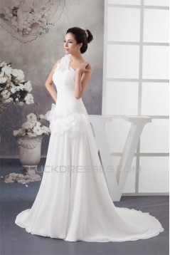 A-Line Chiffon Satin Sleeveless One-Shoulder Most Beautiful Wedding Dresses 2030529