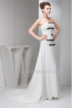 A-Line Chiffon Silk like Satin Strapless Beaded Sweep Train Wedding Dresses 2030530