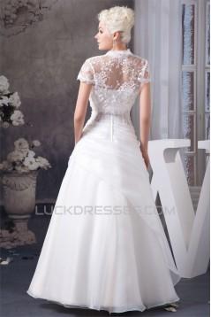 A-Line Halter Satin Lace Sleeveless Wedding Dresses with Jacket 2030532