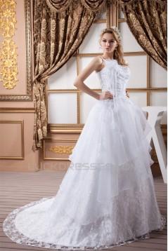 A-Line One-Shoulder Satin Sleeveless Lace Wedding Dresses 2030533