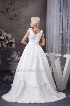 A-Line Satin Taffeta Sleeveless V-Neck Wedding Dresses 2030537