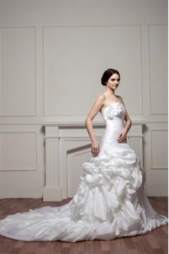 A-Line Satin Taffeta Strapless Sleeveless Chapel Train Wedding Dresses 2030538