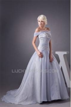 A-Line Sleeveless Off-the-Shoulder Most Beautiful Wedding Dresses 2030539