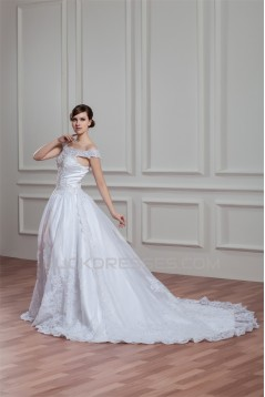 A-Line Sleeveless Off-the-Shoulder Satin Organza Lace Wedding Dresses 2030540