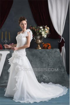 A-Line Sleeveless One-Shoulder Satin Satin Organza Sweet Wedding Dresses 2030541