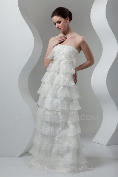 A-Line Sleeveless Satin Lace Organza Strapless Embellished Wedding Dresses 2030543