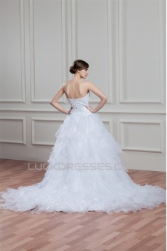 A-Line Sleeveless Satin Organza Soft Sweetheart Beaded Wedding Dresses 2030544