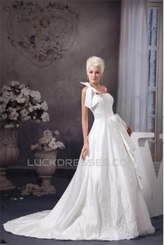 A-Line Sleeveless Satin Taffeta One-Shoulder Lace Wedding Dresses 2030545
