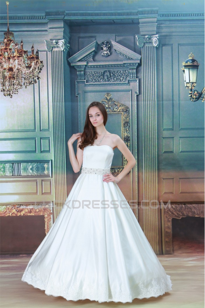 A-Line Sleeveless Soft Sweetheart Satin Beaded Lace Wedding Dresses 2030548
