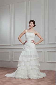 A-Line Sleeveless Spaghetti Straps Satin Organza New Arrival Wedding Dresses 2030549