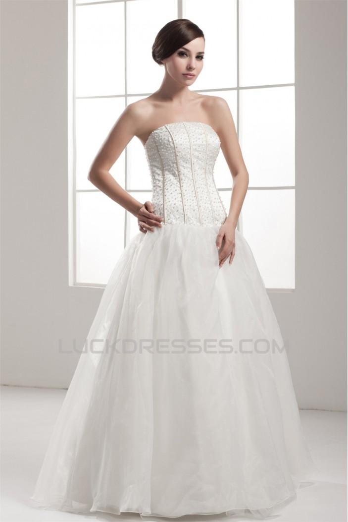 A-Line Sleeveless Strapless Satin Fine Netting Beaded Wedding Dresses 2030550