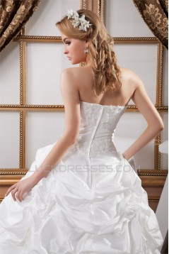 A-Line Sleeveless Strapless Satin Organza Sweet Wedding Dresses 2030552