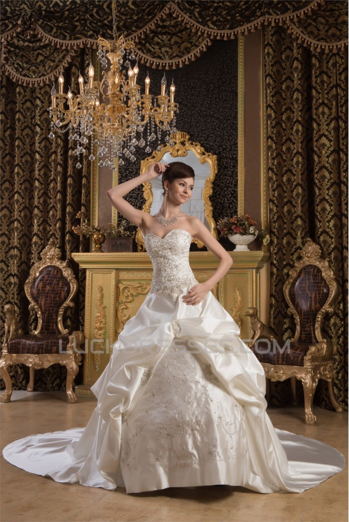 Ball Gown Sleeveless Sweetheart Satin New Arrival Wedding Dresses 2030553