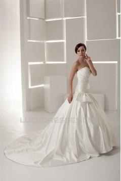 A-Line Sleeveless Sweetheart Satin Taffeta Beaded Wedding Dresses 2030555